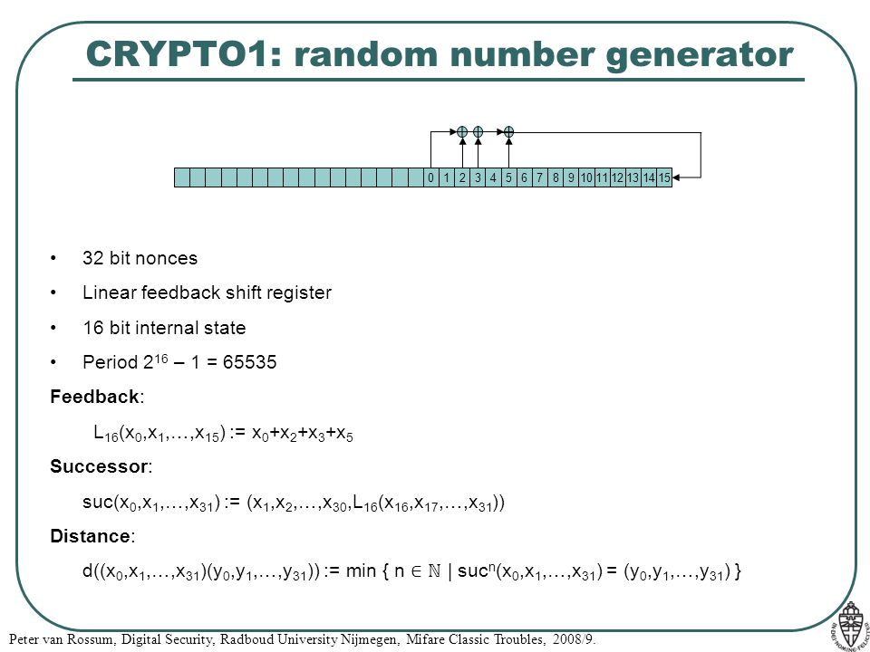 CRYPTO1: random number generator