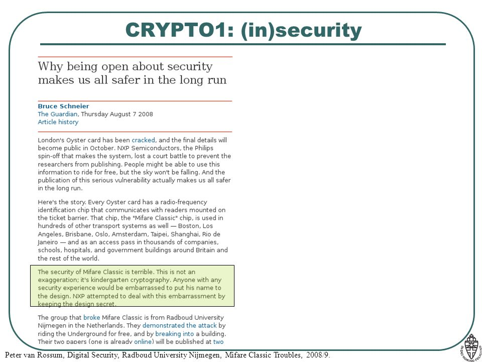 CRYPTO1: (in)security