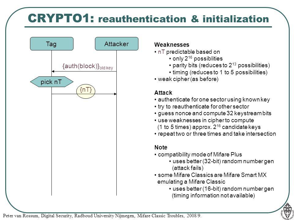 CRYPTO1: reauthentication & initialization