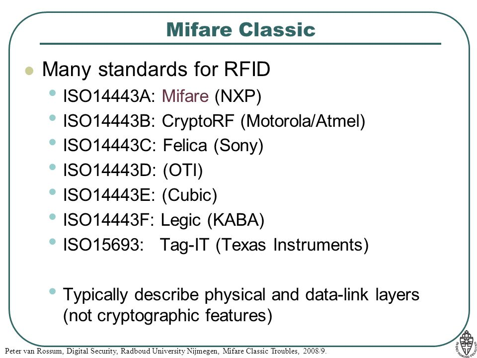 Many standards for RFID