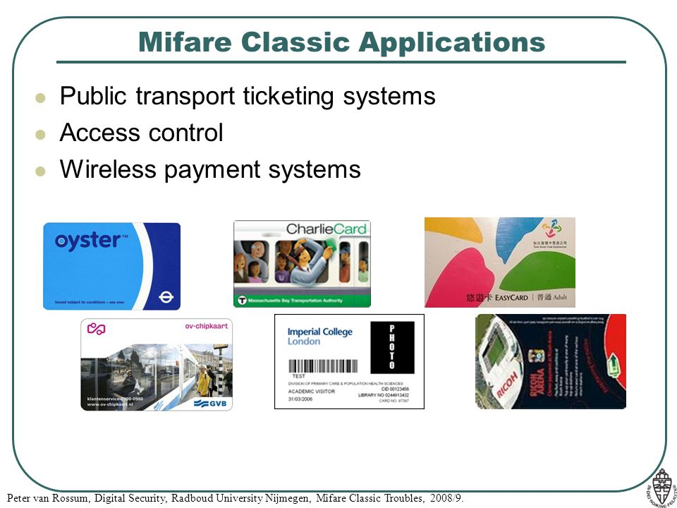 Mifare Classic Applications