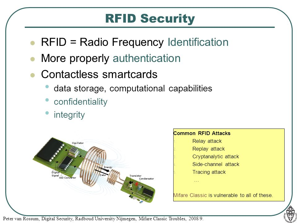 RFID Security RFID = Radio Frequency Identification