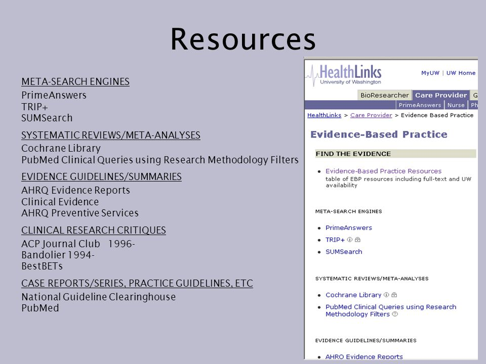 Resources META-SEARCH ENGINES PrimeAnswers TRIP+ SUMSearch