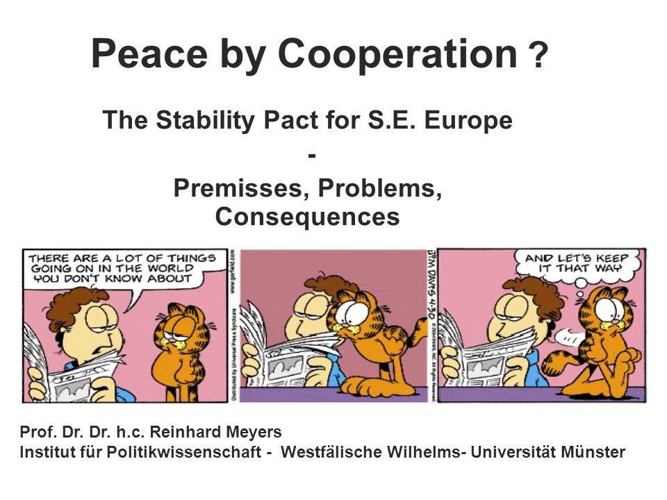 The Stability Pact for S.E. Europe - Premisses, Problems, Consequences