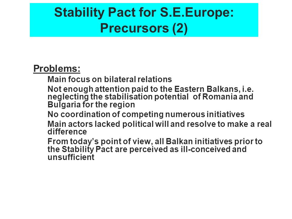 Stability Pact for S.E.Europe: Precursors (2)