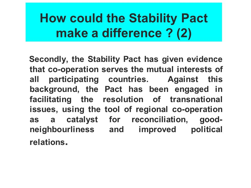 How could the Stability Pact make a difference (2)