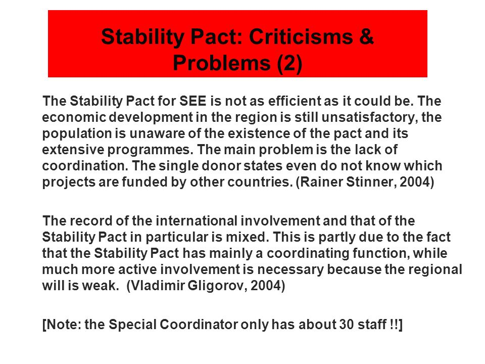 Stability Pact: Criticisms & Problems (2)