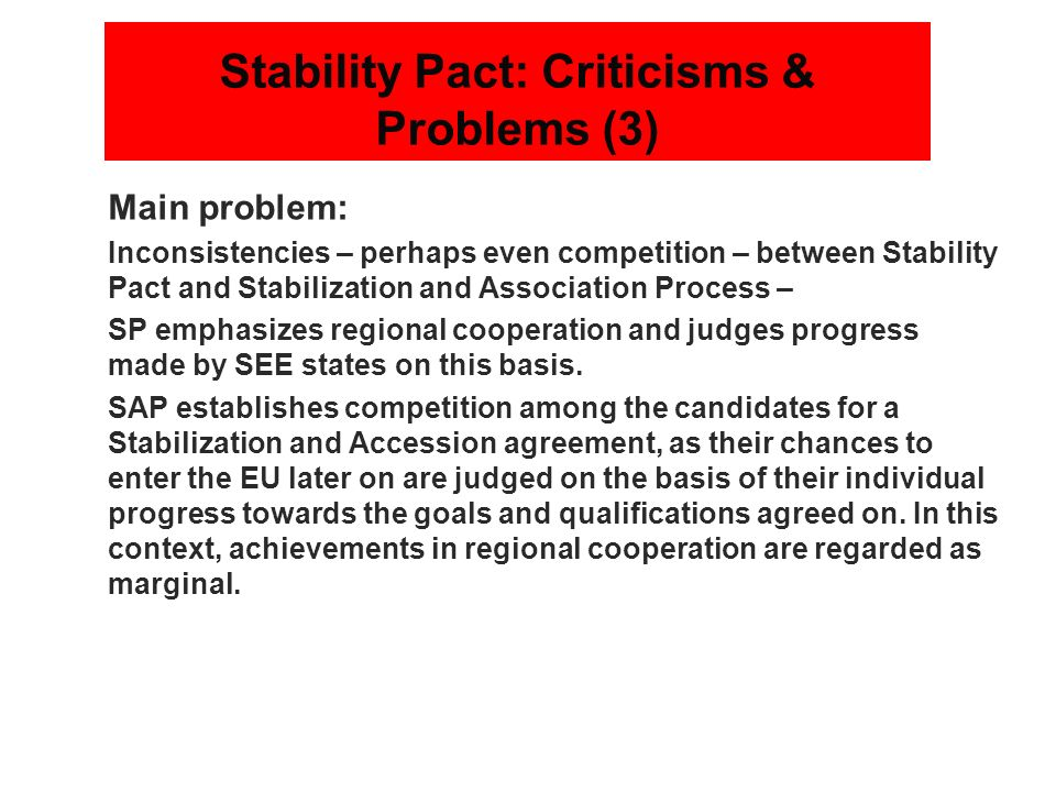 Stability Pact: Criticisms & Problems (3)