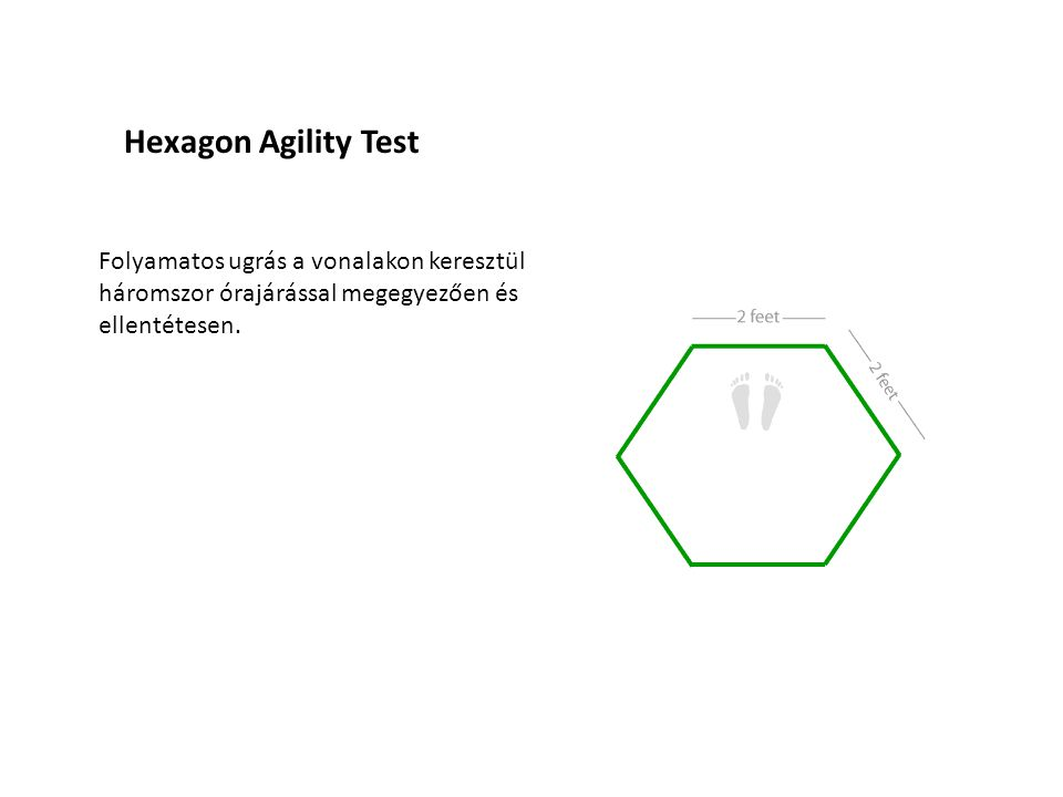 Hexagon Agility Test Folyamatos ugrás a vonalakon keresztül háromszor órajárással megegyezően és ellentétesen.