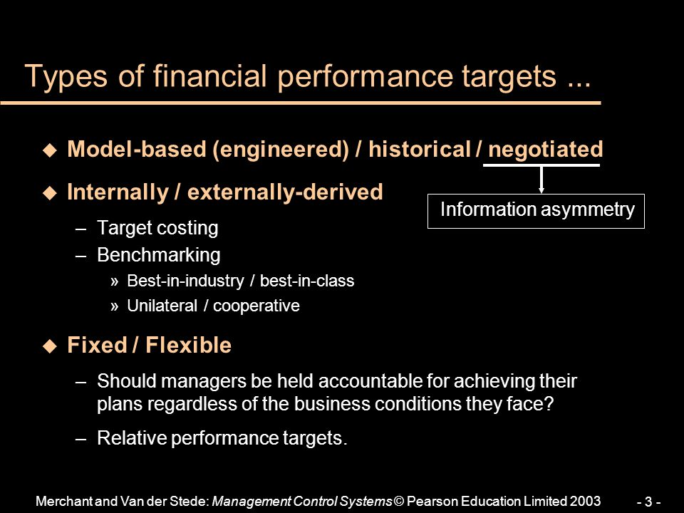 Types of financial performance targets ...