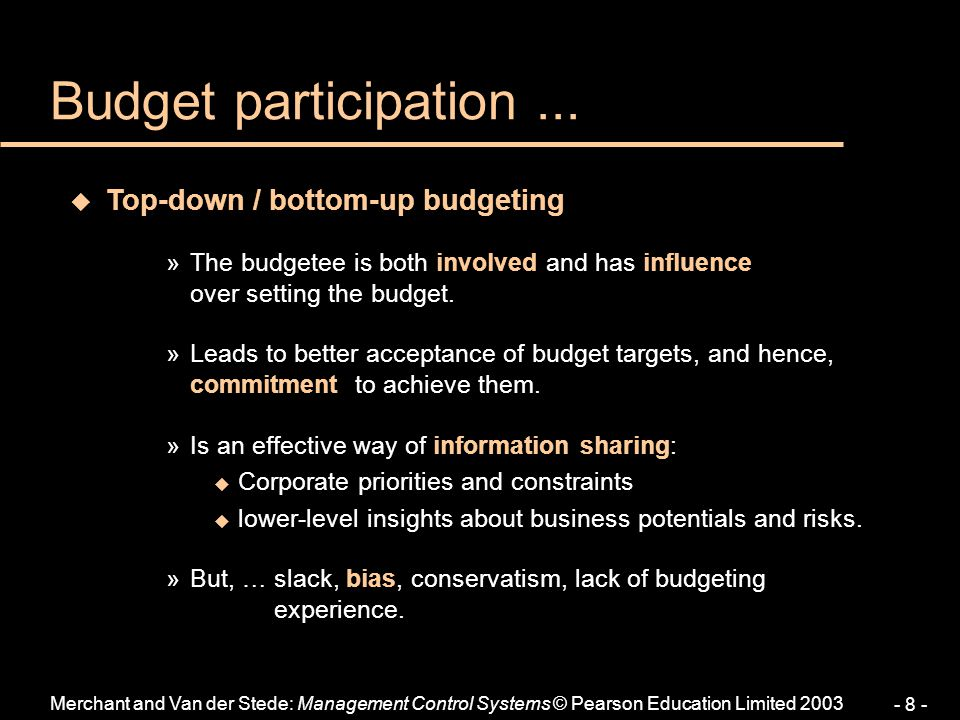 Budget participation ... Top-down / bottom-up budgeting