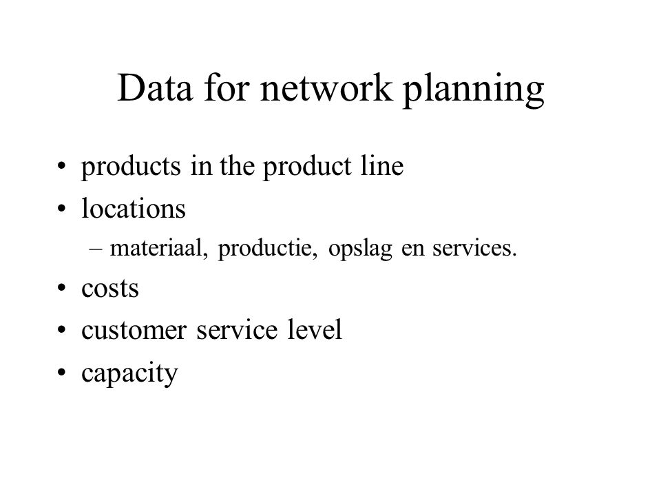 Data for network planning