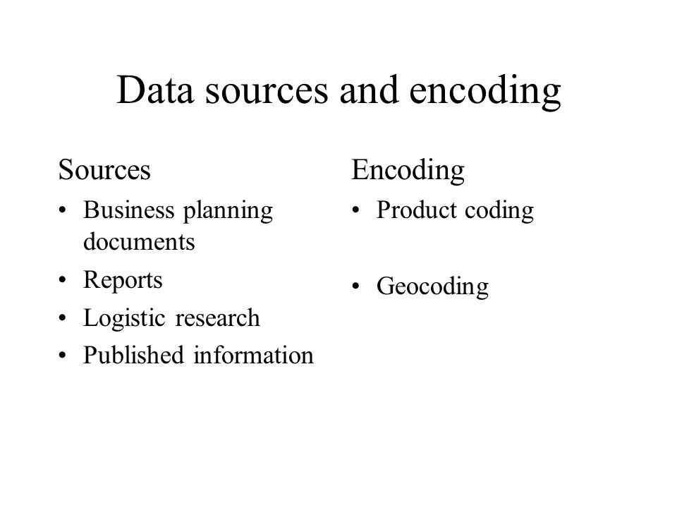 Data sources and encoding