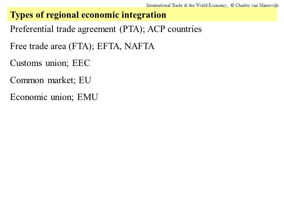 Types of regional economic integration