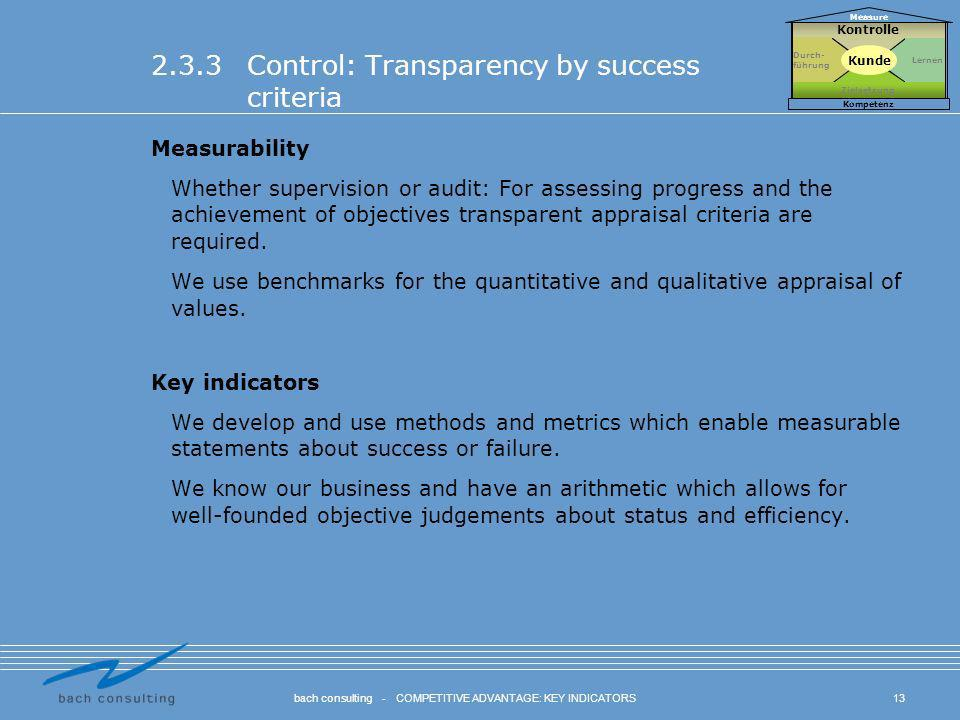 2.3.3 Control: Transparency by success criteria