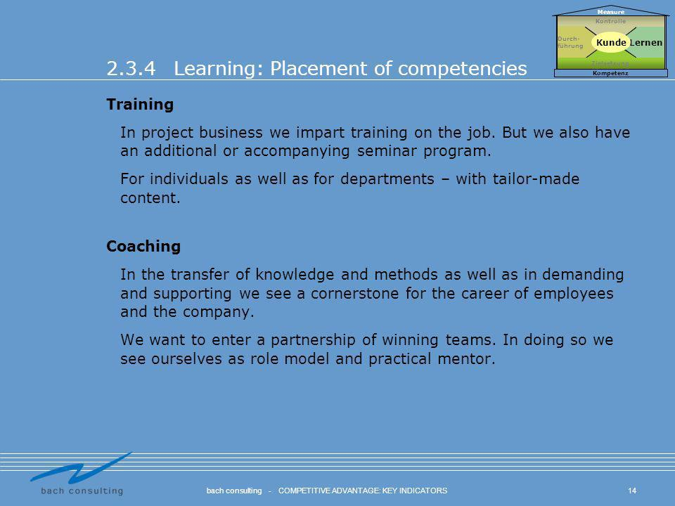 2.3.4 Learning: Placement of competencies