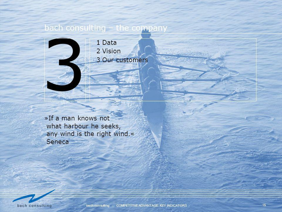 3 bach consulting – the company 1 Data 2 Vision 3 Our customers