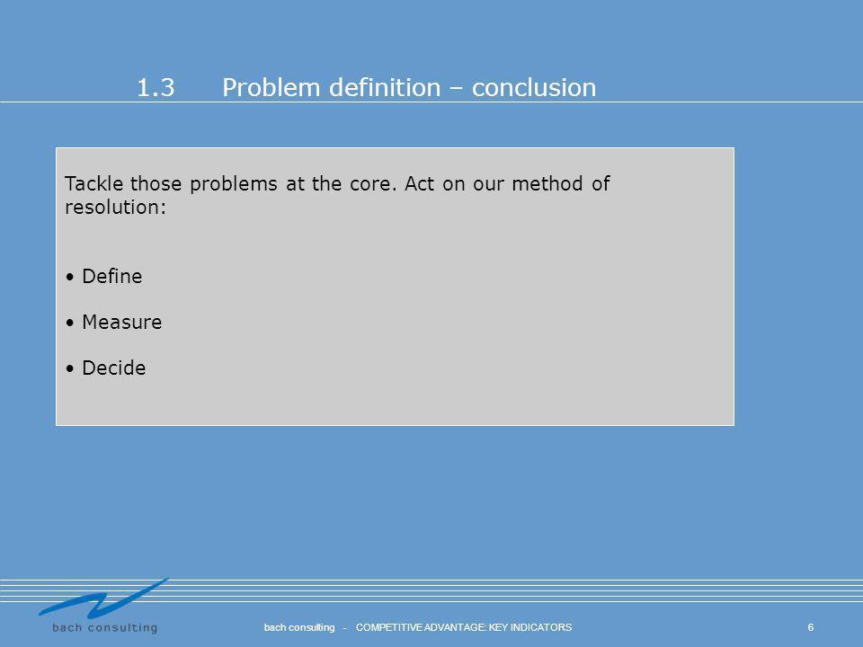 1.3 Problem definition – conclusion