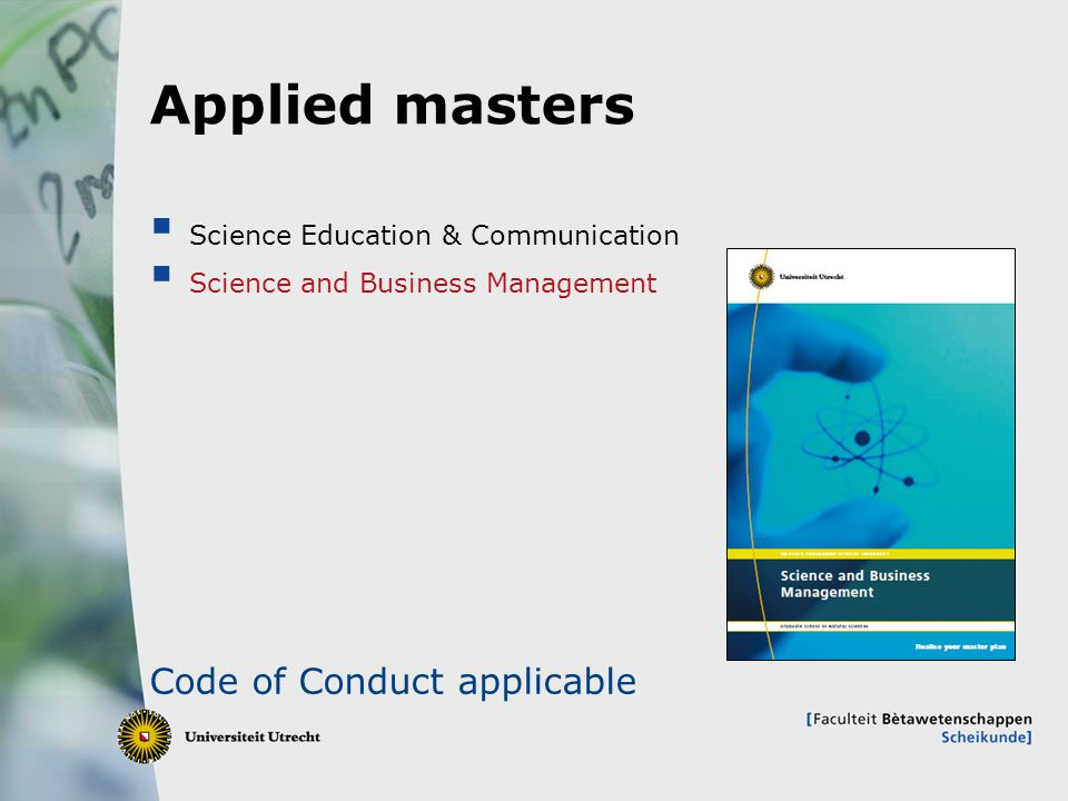 Applied masters Code of Conduct applicable