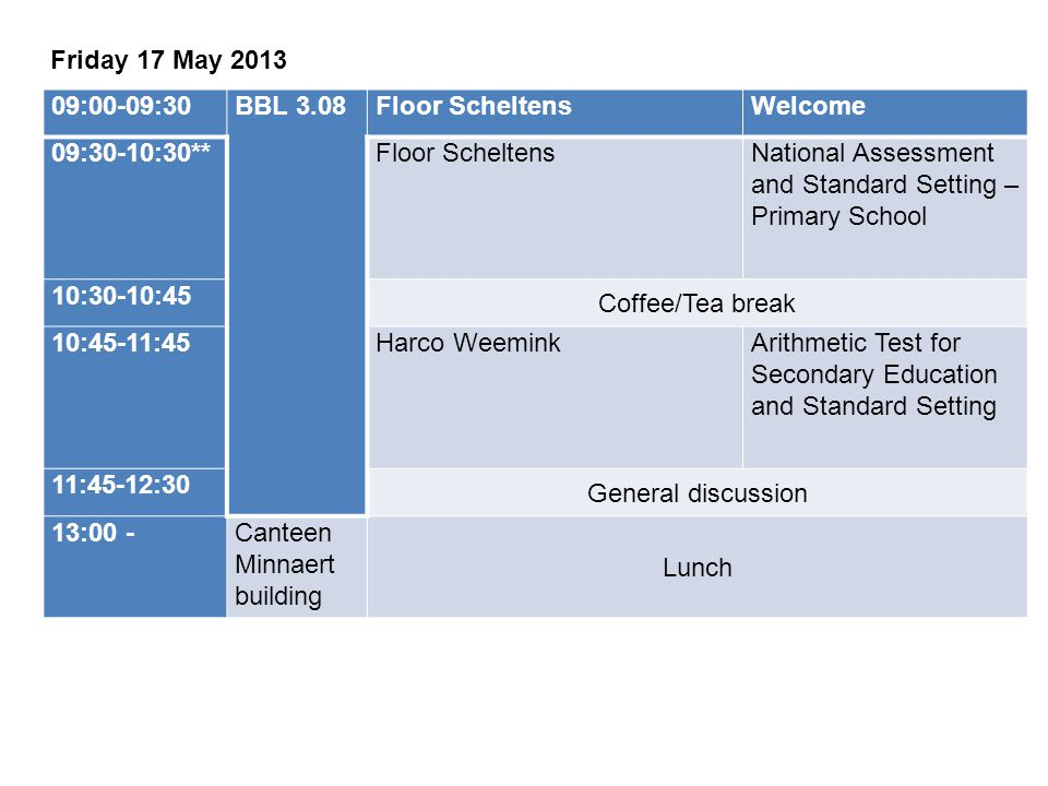 Friday 17 May 2013 09:00-09:30. BBL 3.08. Floor Scheltens. Welcome. 09:30-10:30** National Assessment and Standard Setting – Primary School.