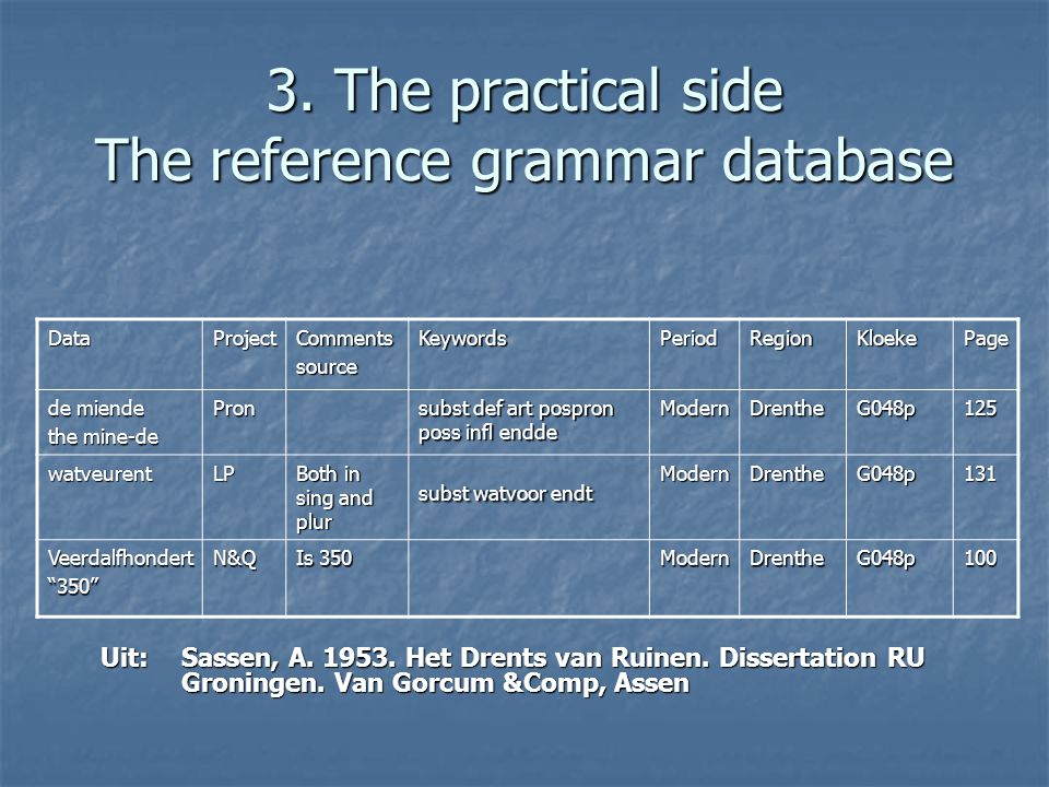 3. The practical side The reference grammar database