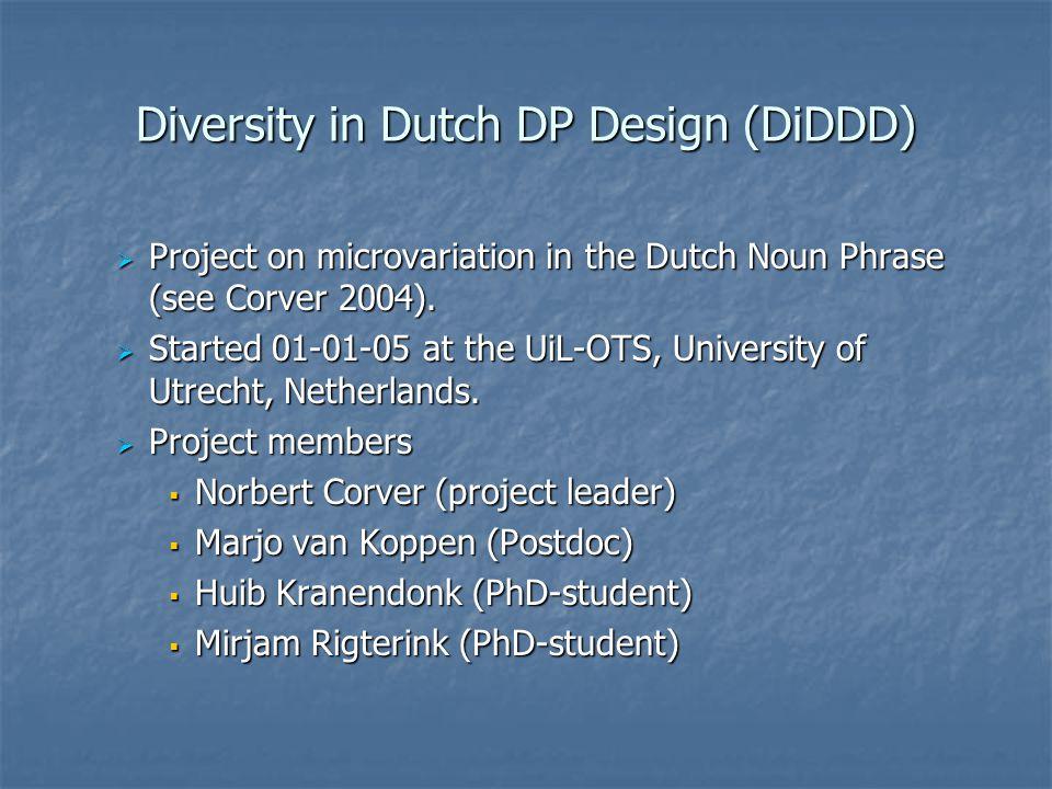 Diversity in Dutch DP Design (DiDDD)