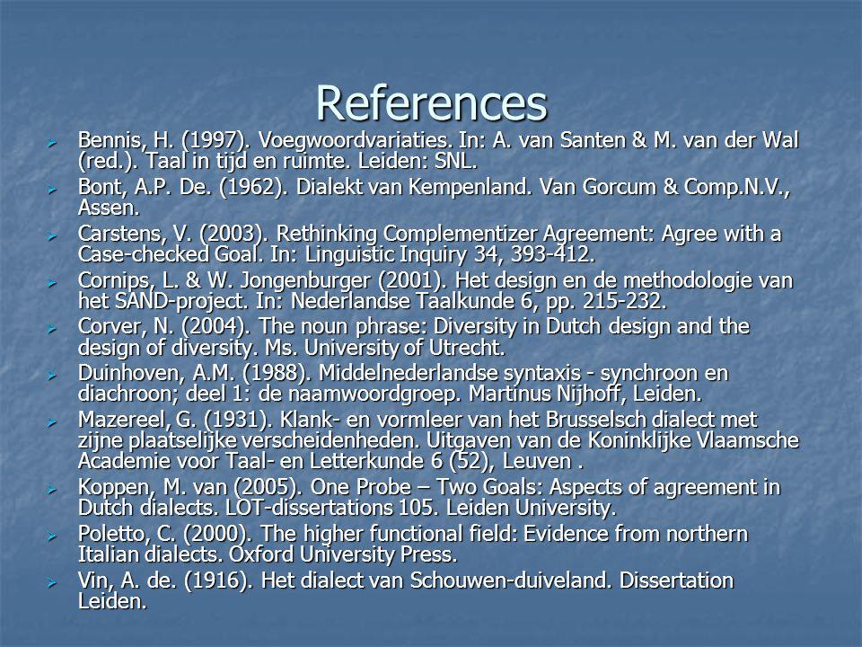 References Bennis, H. (1997). Voegwoordvariaties. In: A. van Santen & M. van der Wal (red.). Taal in tijd en ruimte. Leiden: SNL.