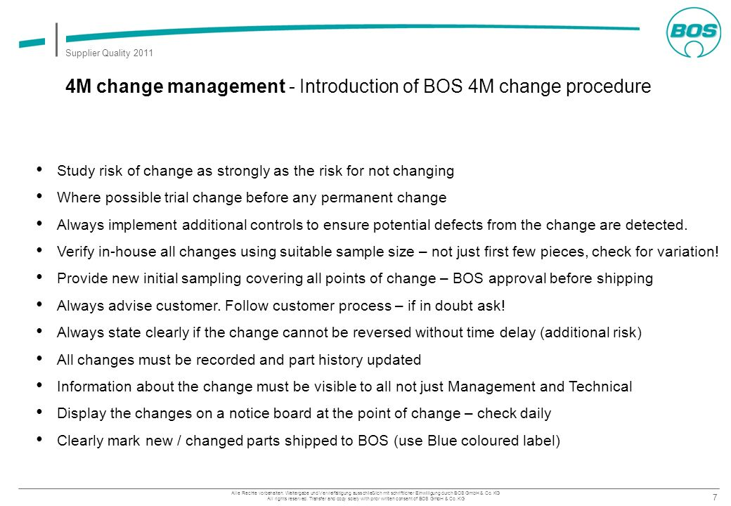 4M change management - Introduction of BOS 4M change procedure