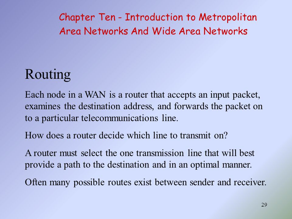 Routing Chapter Ten - Introduction to Metropolitan