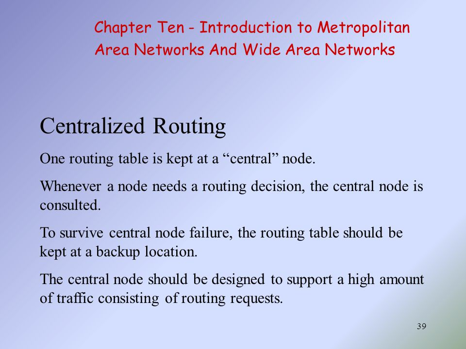 Centralized Routing Chapter Ten - Introduction to Metropolitan