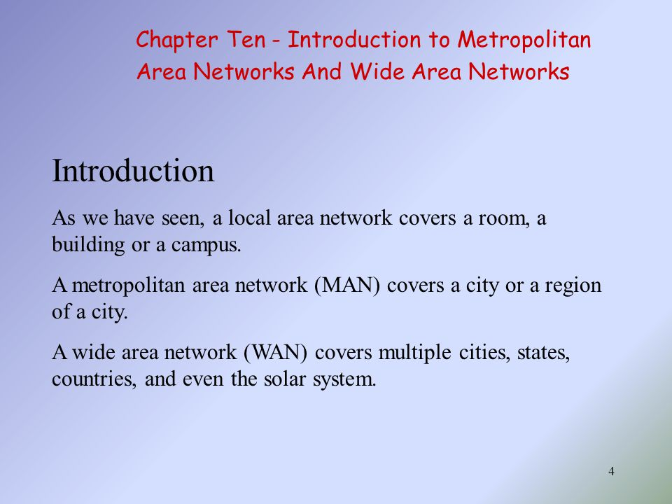 Introduction Chapter Ten - Introduction to Metropolitan