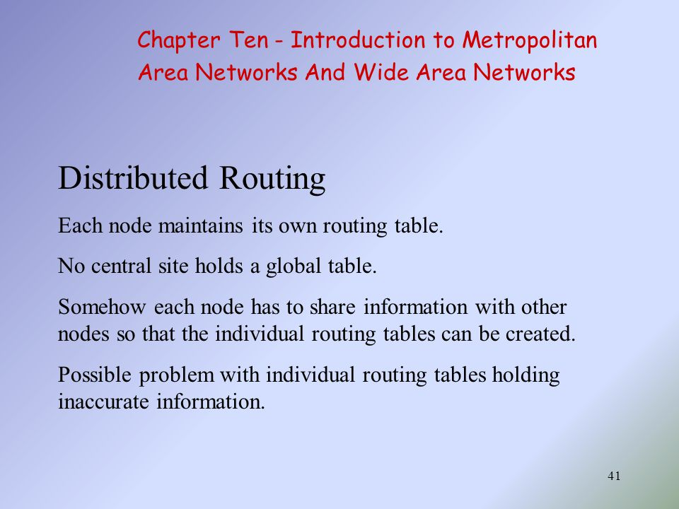 Distributed Routing Chapter Ten - Introduction to Metropolitan