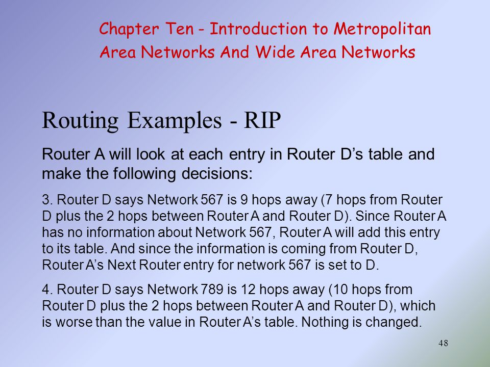 Routing Examples - RIP Chapter Ten - Introduction to Metropolitan