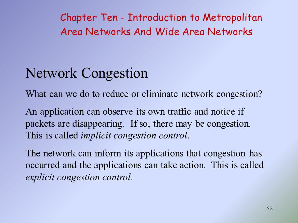 Network Congestion Chapter Ten - Introduction to Metropolitan