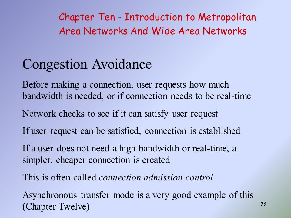 Congestion Avoidance Chapter Ten - Introduction to Metropolitan