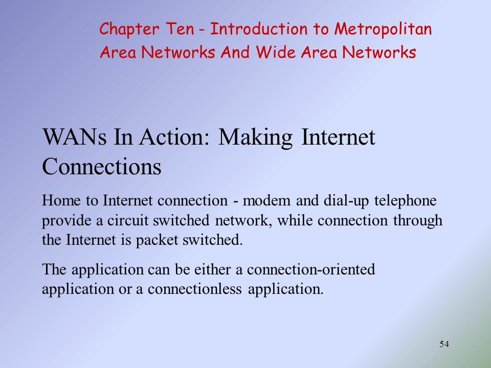 WANs In Action: Making Internet Connections