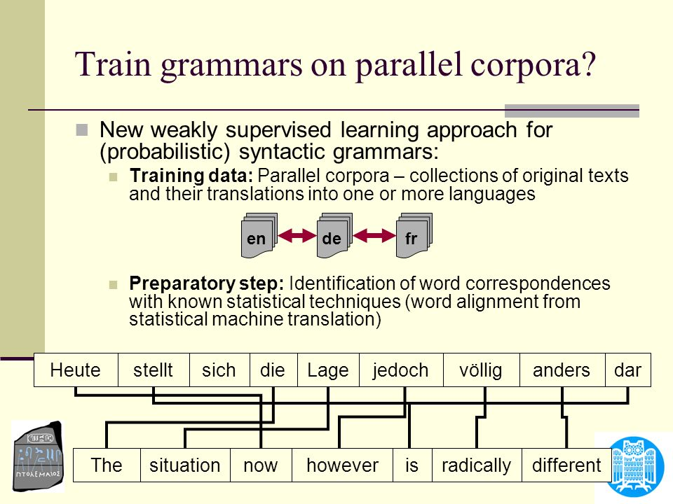Train grammars on parallel corpora