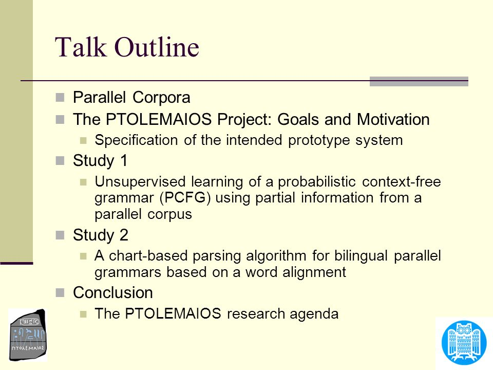 Talk Outline Parallel Corpora