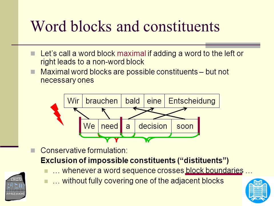 Word blocks and constituents