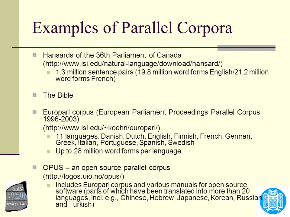Examples of Parallel Corpora
