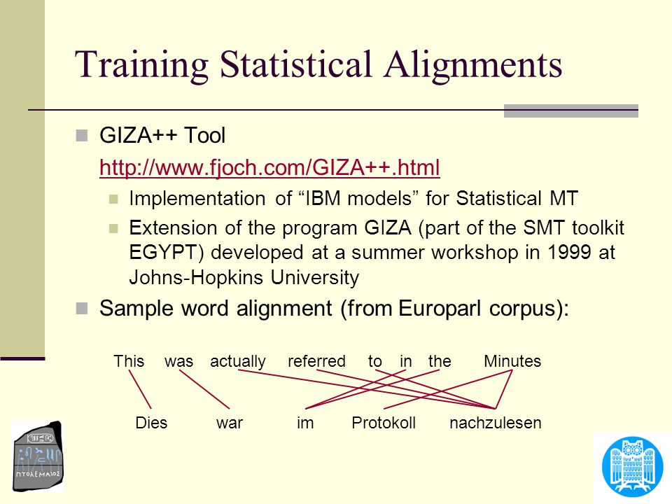 Training Statistical Alignments