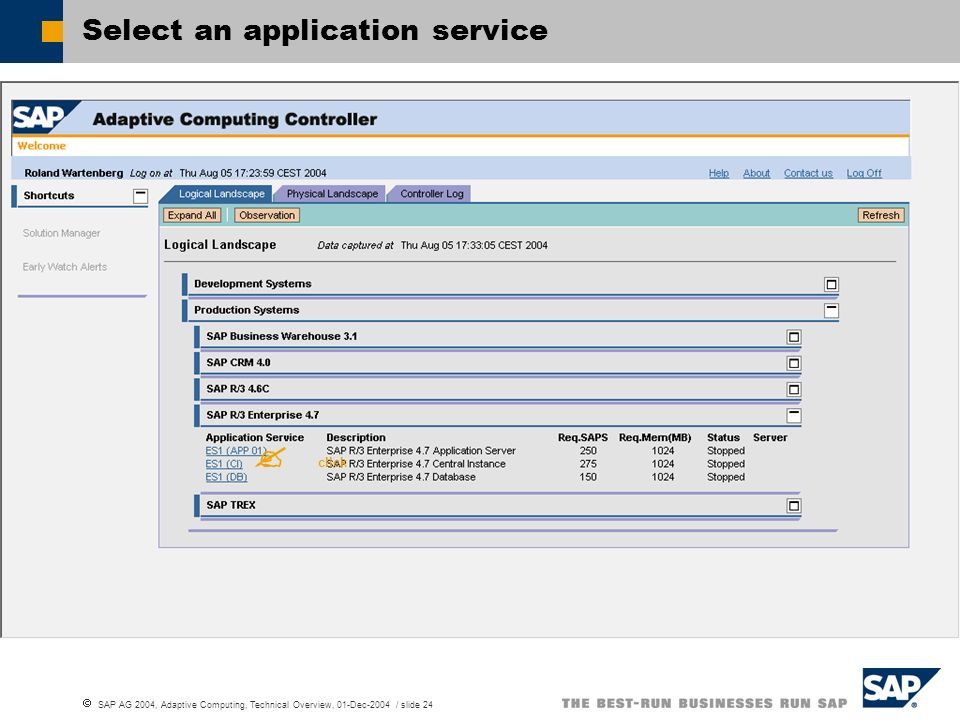 Select an application service