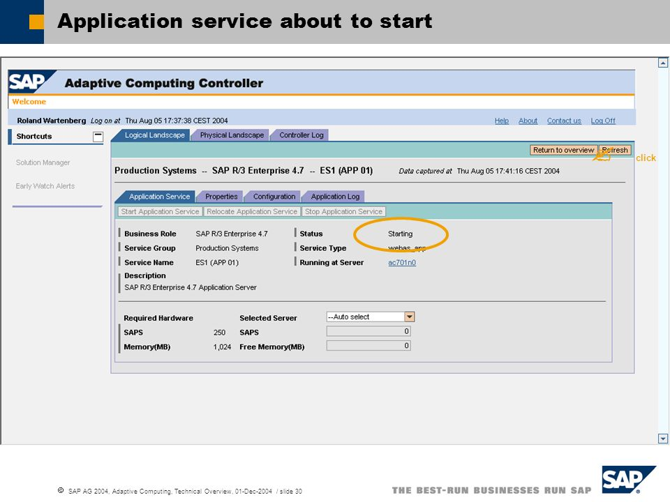 Application service about to start