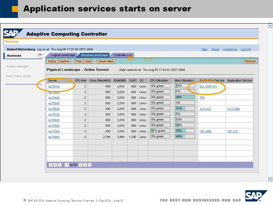 Application services starts on server