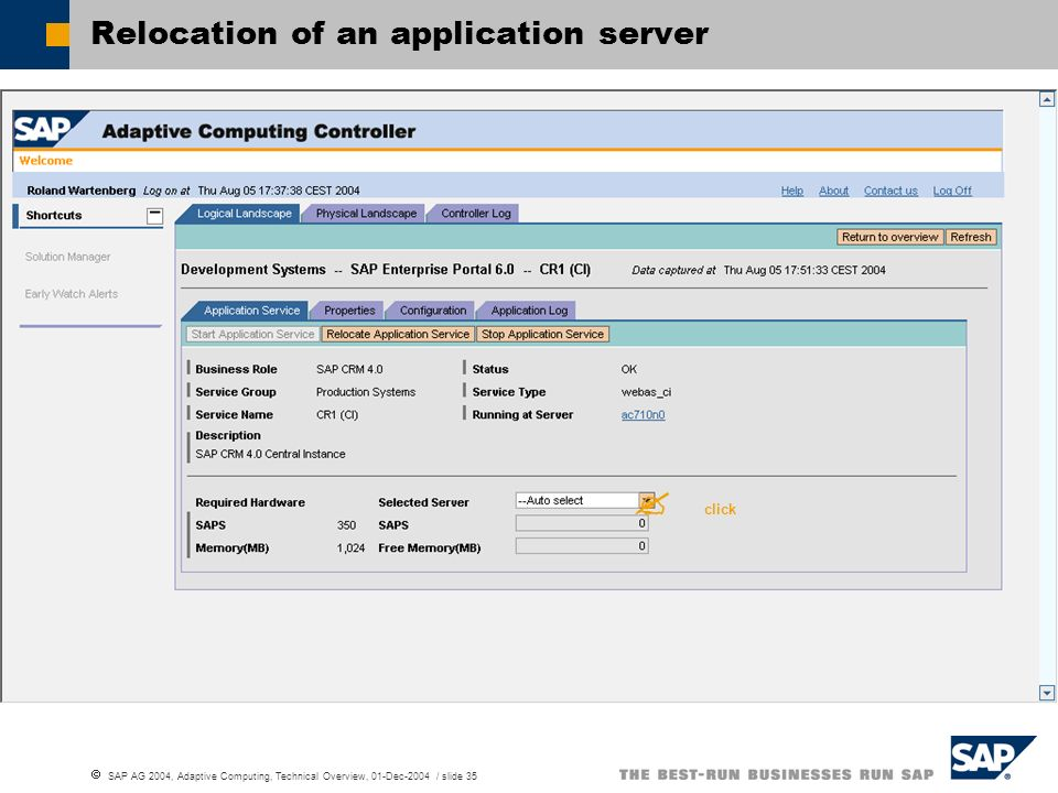 Relocation of an application server