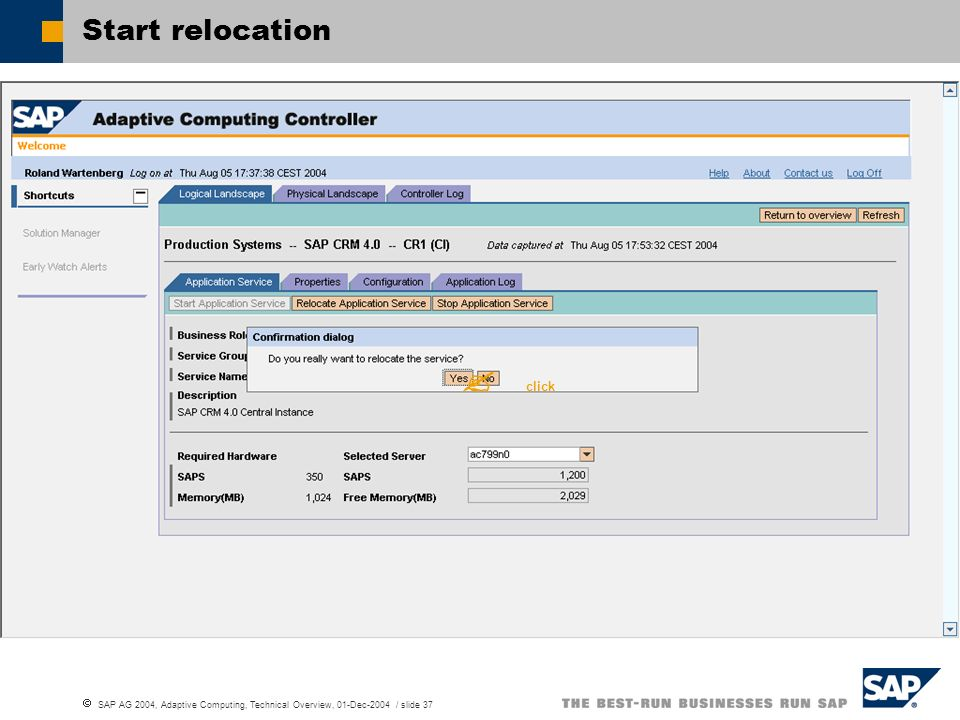 Start relocation  click