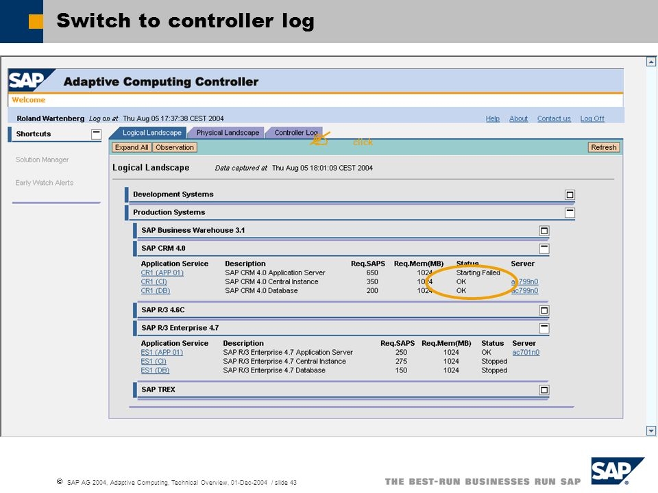Switch to controller log