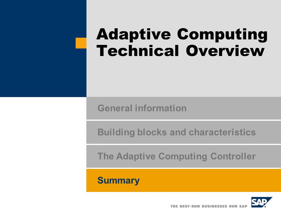 Adaptive Computing Technical Overview