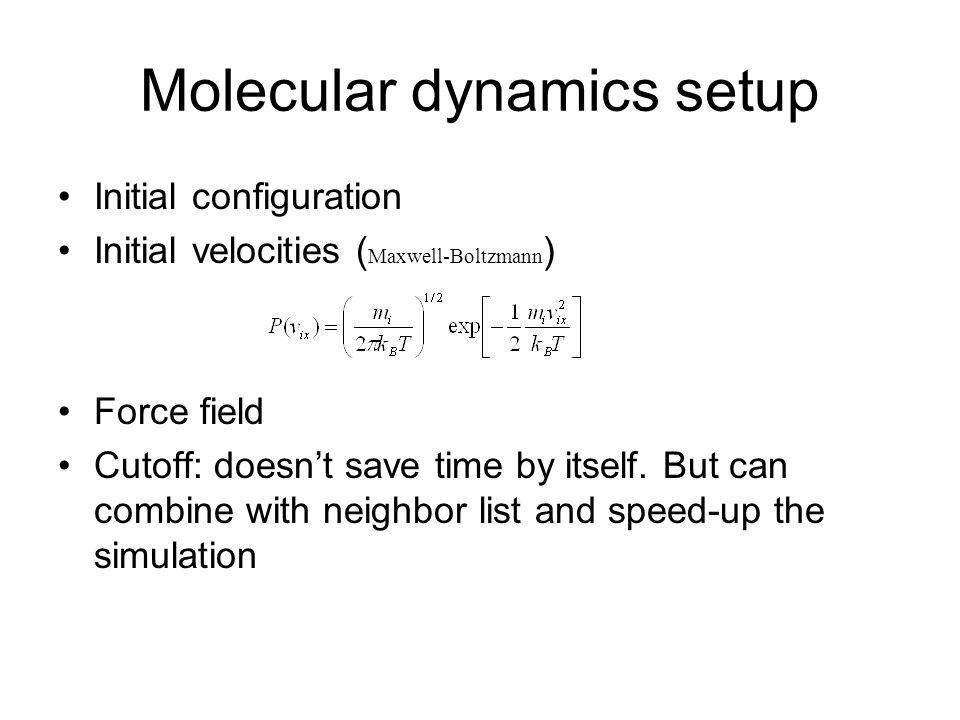 Molecular dynamics setup