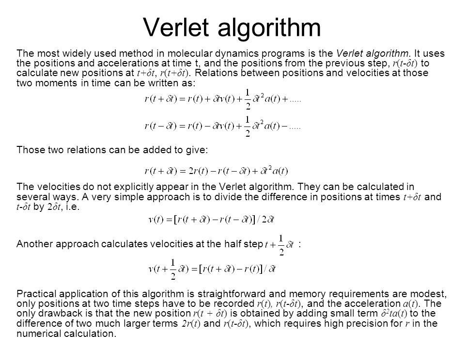 Verlet algorithm